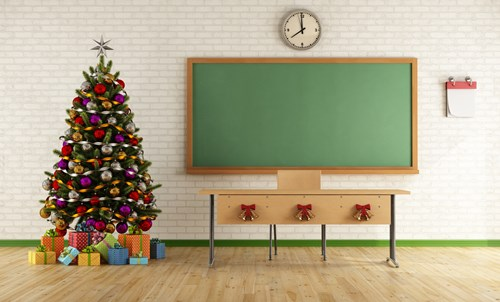 classroom with christmas tree